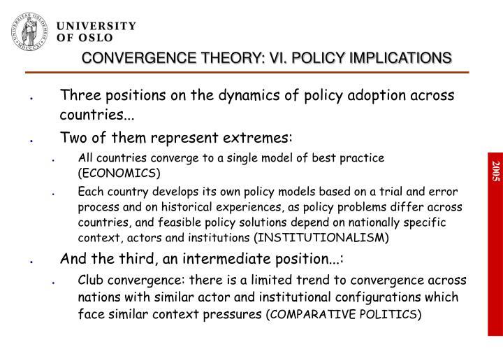 CONVERGENCE THEORY: VI. POLICY IMPLICATIONS