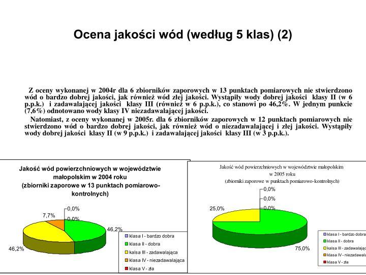 Ocena jakości wód (według 5 klas) (2)