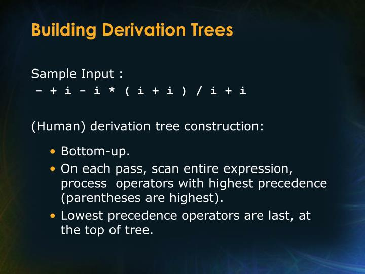 Building Derivation Trees