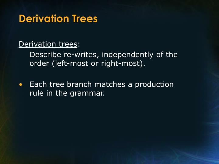 Derivation Trees