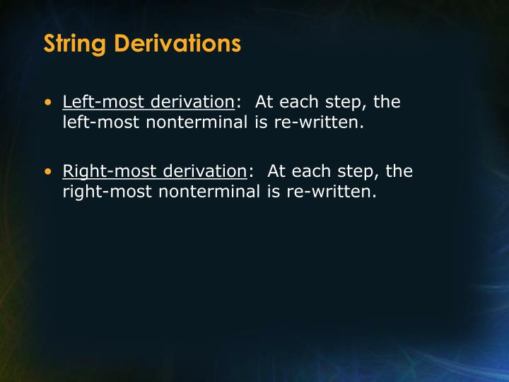 String Derivations