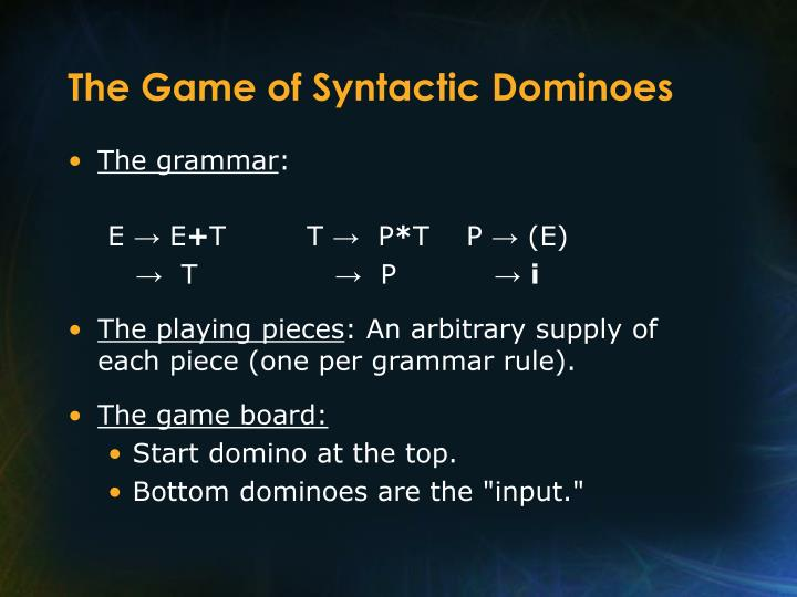 The Game of Syntactic Dominoes