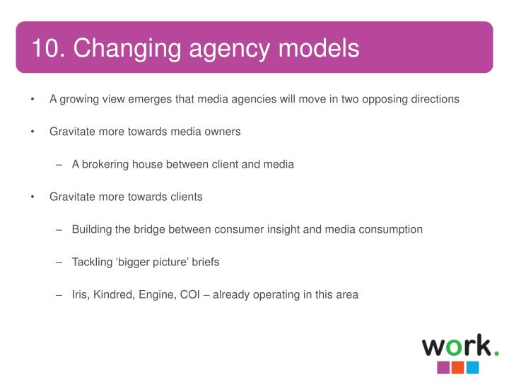 10. Changing agency models