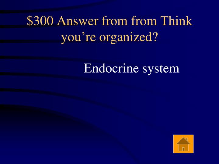 $300 Answer from from Think you're organized?