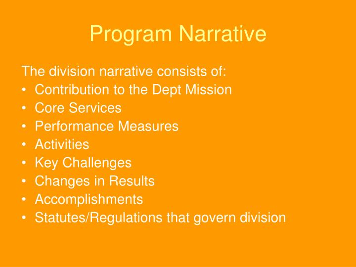 Program Narrative