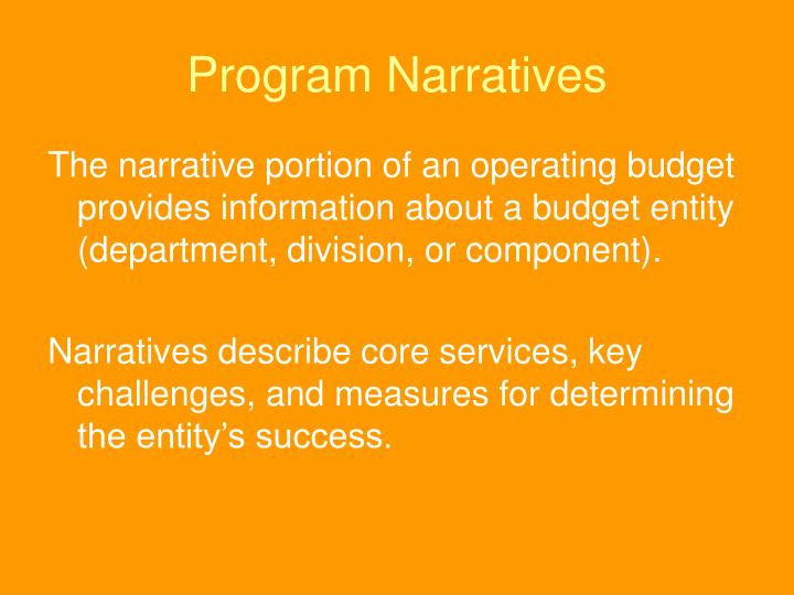 Program Narratives