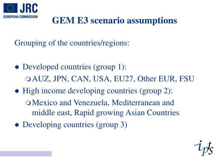 GEM E3 scenario assumptions