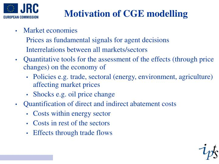 Motivation of CGE modelling