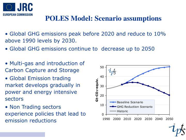 POLES Model: Scenario assumptions