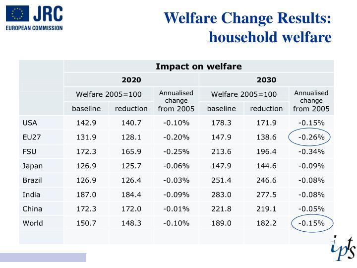 Welfare Change Results: household welfare