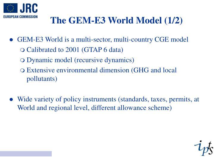 The GEM-E3 World Model (1/2)