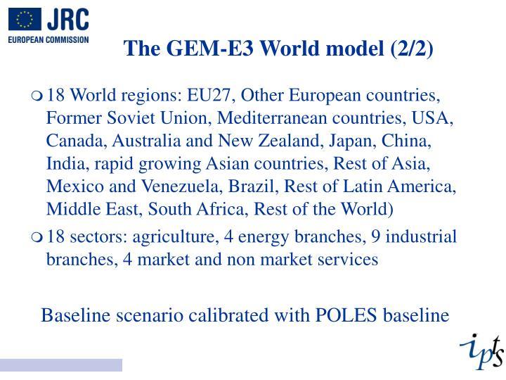 The GEM-E3 World model (2/2)