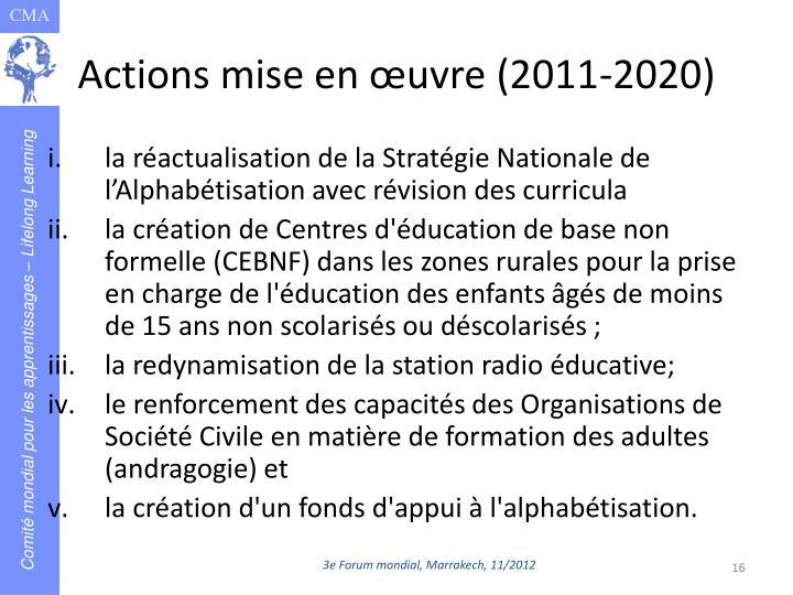 Actions mise en œuvre (2011-2020)