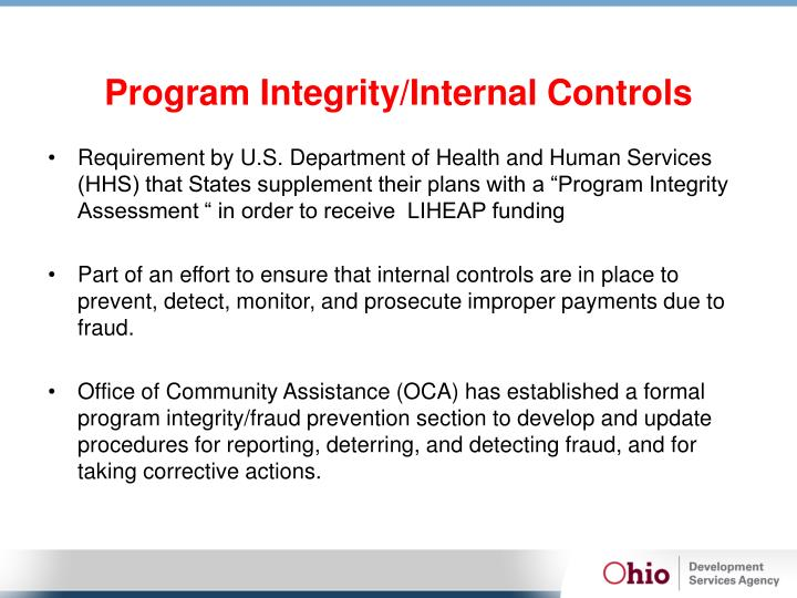 Program Integrity/Internal Controls