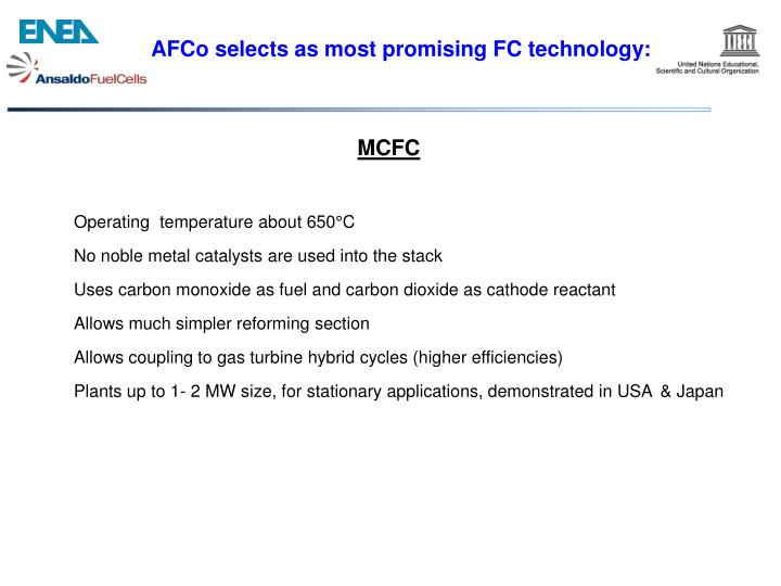 AFCo selects as most promising FC technology: