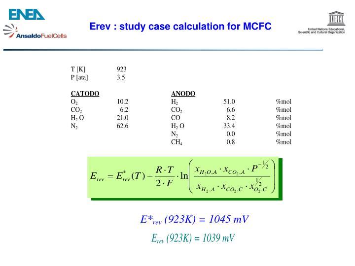 Erev : study case calculation for MCFC