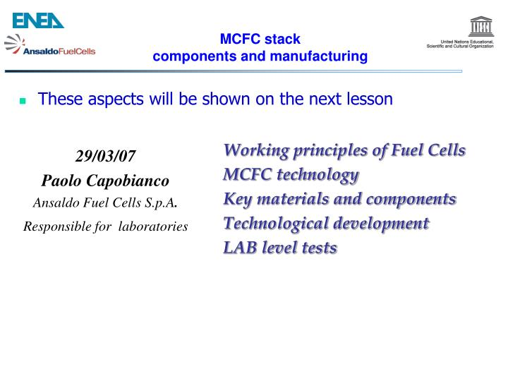 MCFC stack