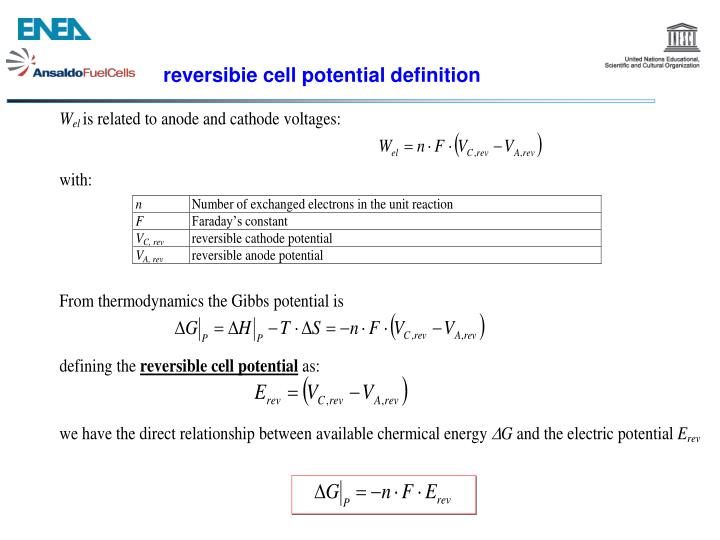 reversibie cell potential definition