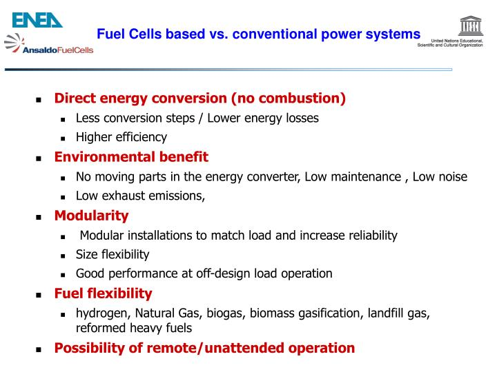 Fuel Cells based vs. conventional power systems