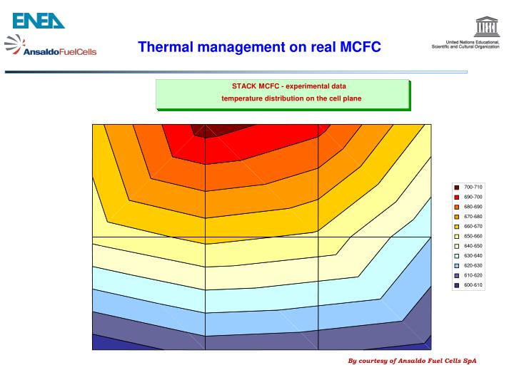 Thermal management on real MCFC