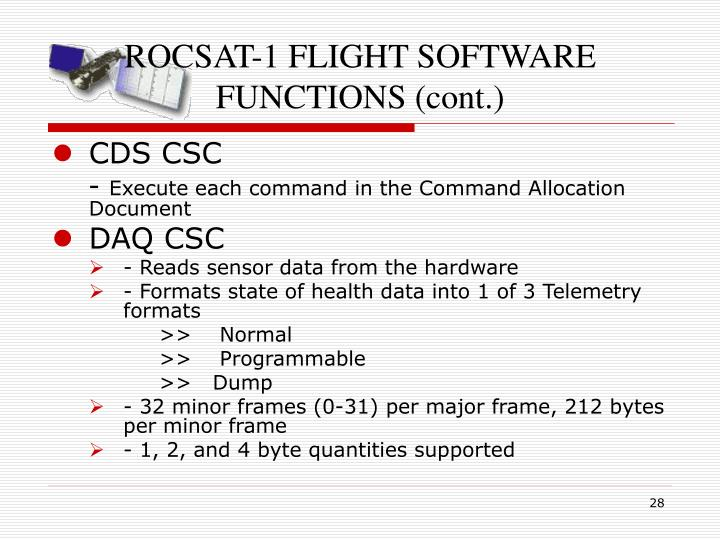 ROCSAT-1 FLIGHT SOFTWARE FUNCTIONS (cont.)