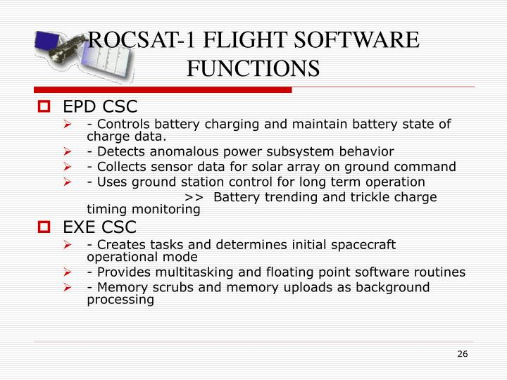 ROCSAT-1 FLIGHT SOFTWARE FUNCTIONS