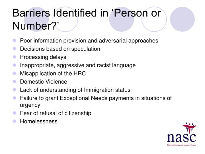 Barriers Identified in 'Person or Number?'