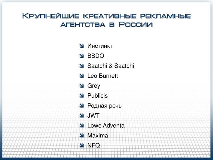 Крупнейшие креативные рекламные агентства в России
