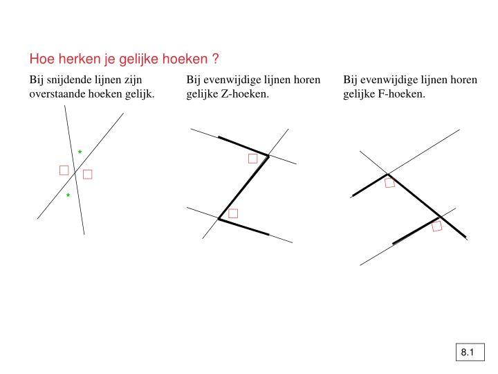 Hoe herken je gelijke hoeken ?