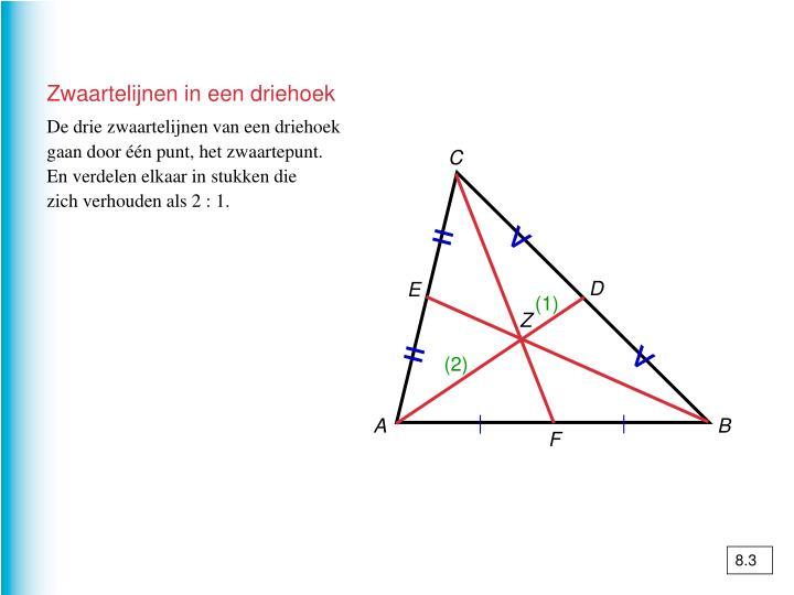 Zwaartelijnen in een driehoek