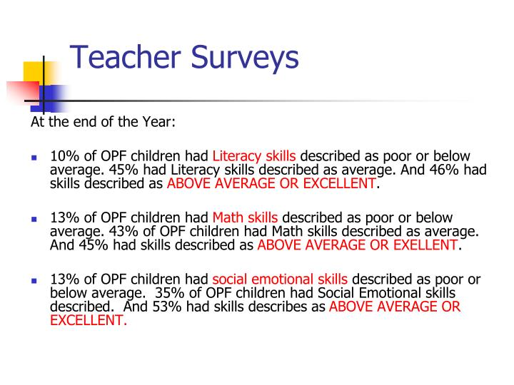 Teacher Surveys