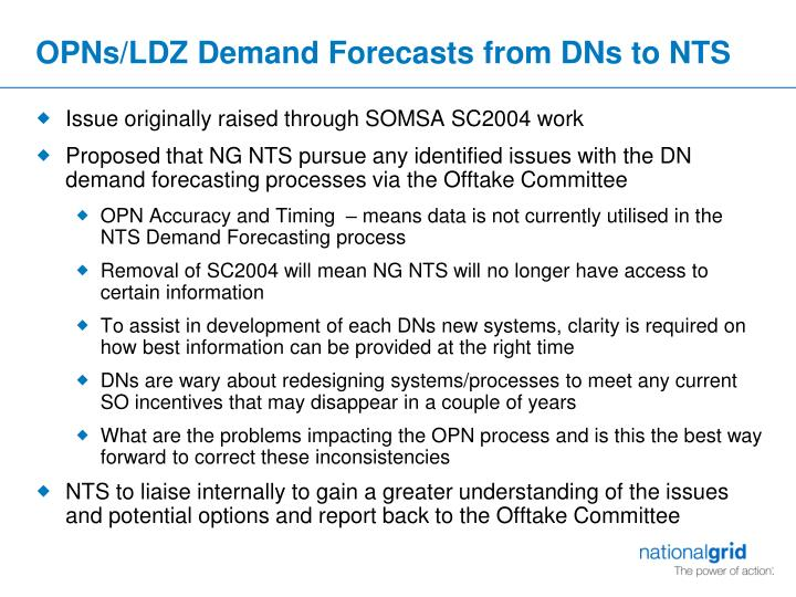 OPNs/LDZ Demand Forecasts from DNs to NTS