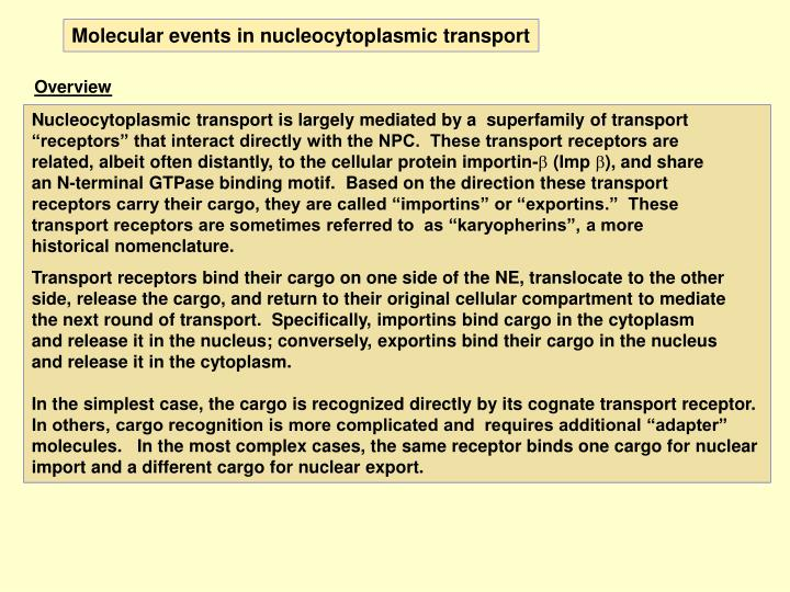 Molecular events in nucleocytoplasmic transport