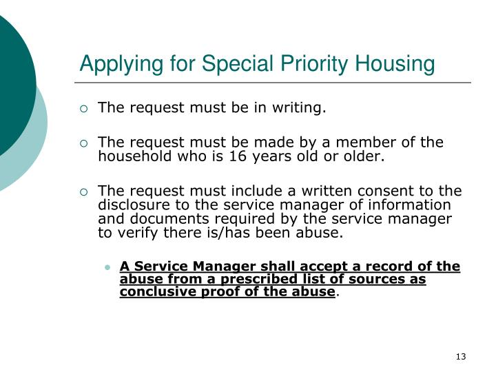 Applying for Special Priority Housing