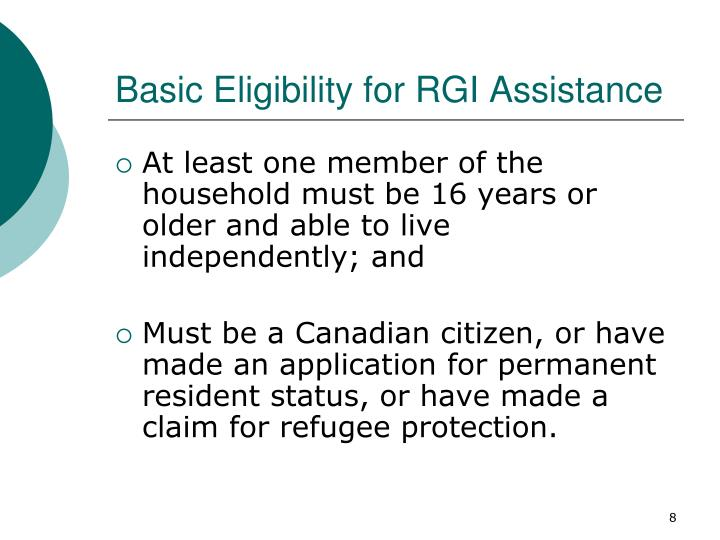 Basic Eligibility for RGI Assistance