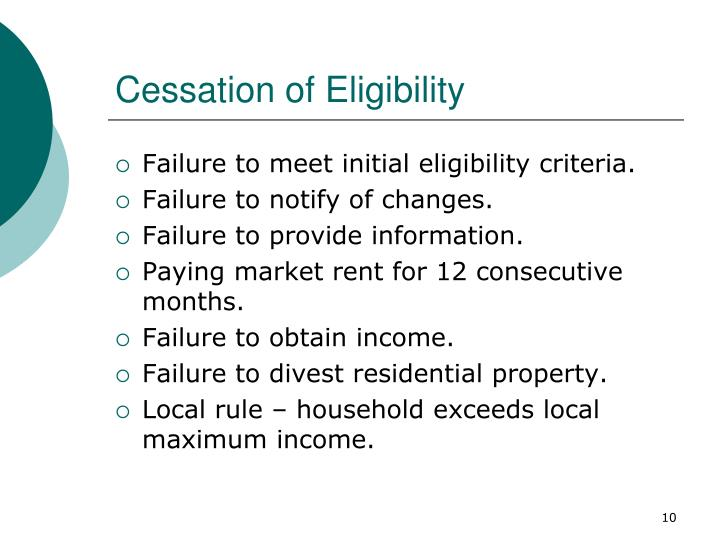 Cessation of Eligibility