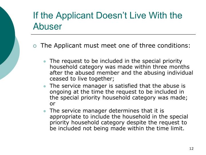 If the Applicant Doesn't Live With the Abuser