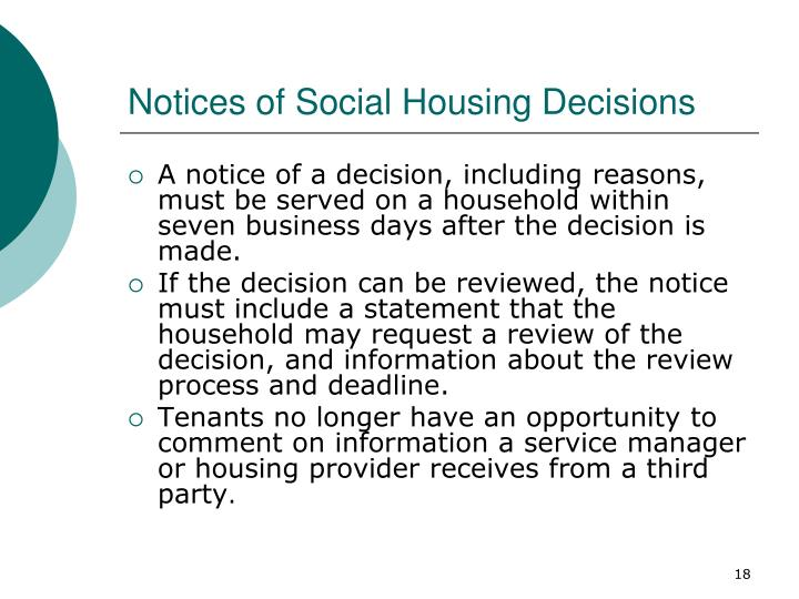 Notices of Social Housing Decisions