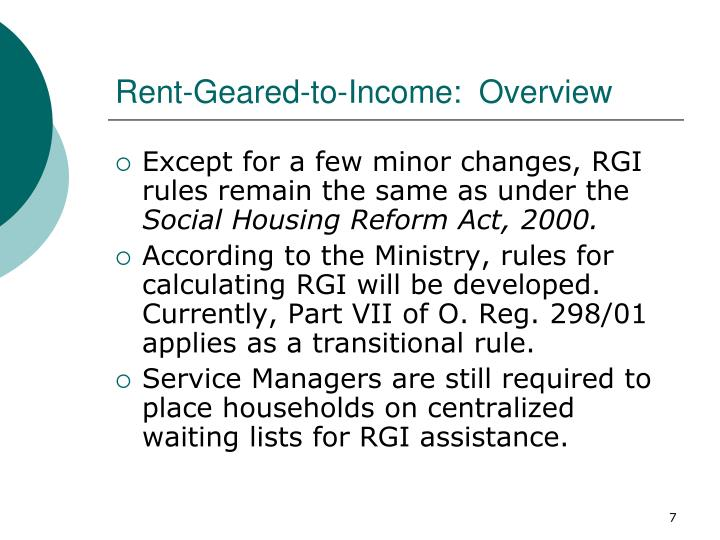 Rent-Geared-to-Income:  Overview