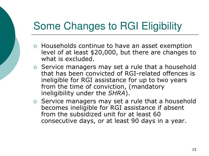 Some Changes to RGI Eligibility