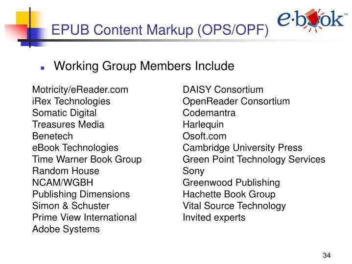 EPUB Content Markup (OPS/OPF)