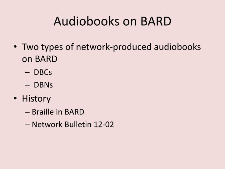 Audiobooks on BARD