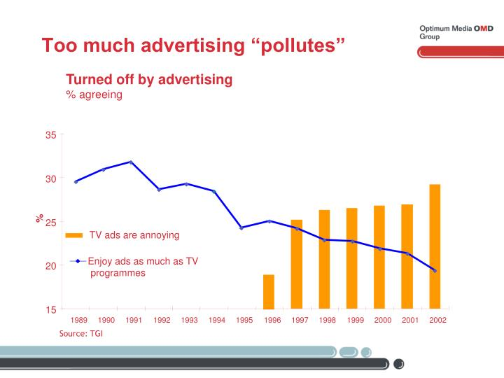 "Too much advertising ""pollutes"""
