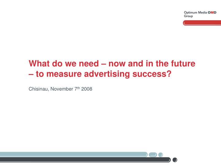 What do we need now and in the future to measure advertising success