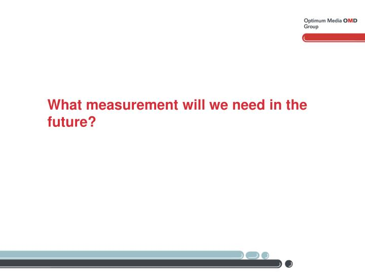 What measurement will we need in the future?