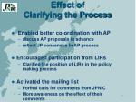 effect of clarifying the process