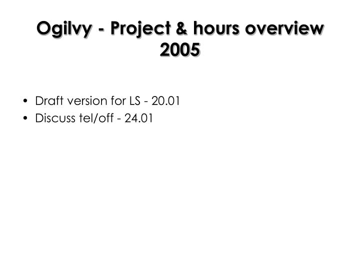 Ogilvy - Project & hours overview 2005