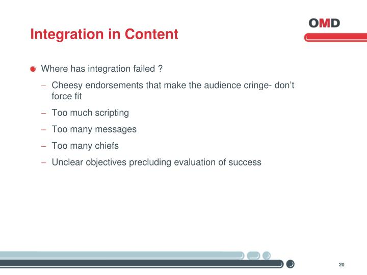 Integration in Content