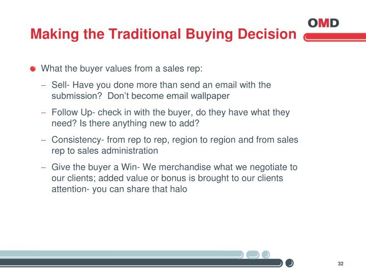 Making the Traditional Buying Decision