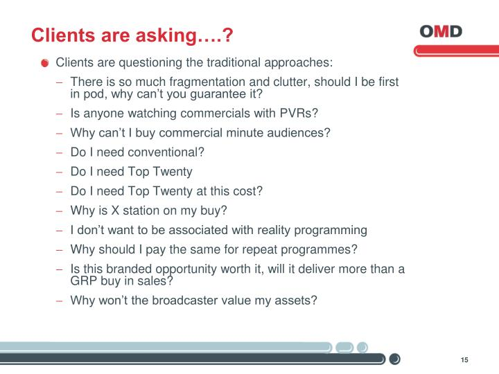 Clients are asking….?